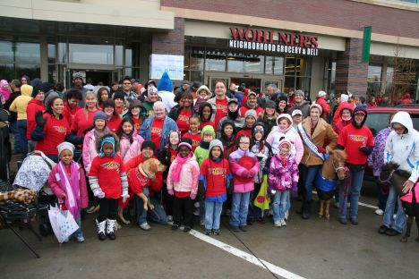 Amazing group of people that came out to brave the cold and rain.