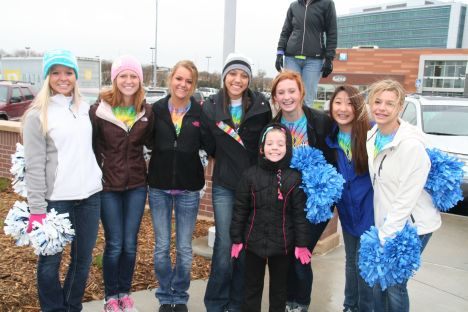 Cheerleaders from my sisters school.  So fun to see these girls, cheering for a CURE!