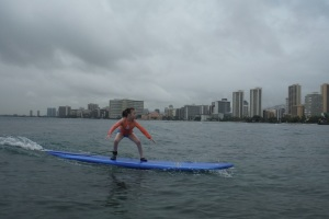 My girl surfing!!  Tears filled mamas eyes at her wish being realized!