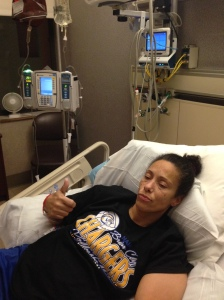 """Chemo's going. Typical Kim attitude with her """"I Got This"""" expression."""
