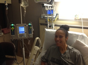 Kim rocking chemo! Almost halfway done with first treatment!